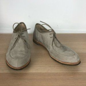 CLARKS gray leather suede lace up loafers size 9